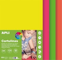 sada barevných čtvrtek A4, 170g, 50 listů, mix fluo barev