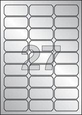 etikety polyesterové 63,5x26,6 mm stříbrné, 540 ks