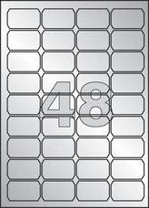 etikety polyesterové 45,7x21,2 mm stříbrné, 960 ks