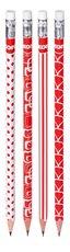 tužka Grafitos červenobílá s gumou, 4ks