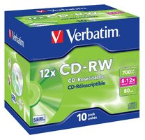 CD-RW Verbatim 8-12x/700 MB/jewel case 10ks