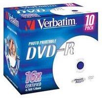 DVD-R Verbatim 16x/ 4,7GB/jewel case printable 10ks