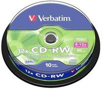 CD-RW Verbatim 80 min/700MB,8x12, 10-cake