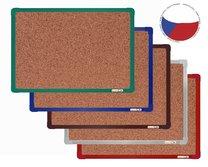 korková nástěnka 90x60cm barevný hlinikový rám