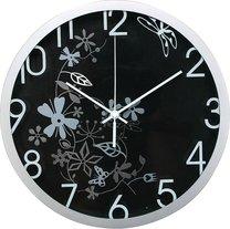 hodiny nástěnné Ø30cm květinový motiv černo-stříbrné