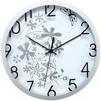 hodiny nástěnné Ø30cm květinový motiv bílo-stříbrné