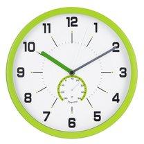 hodiny nástěnné Ø30cm s teploměrem, zelené