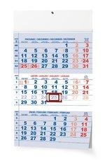 Nástěnný kalendář Tříměsíční - s mez. svátky - modrý