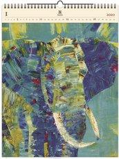 Nástěnný kalendář dřevěný - Elephant