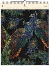 Nástěnný kalendář dřevěný - Peacocks
