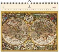 Nástěnný kalendář dřevěný - Antique Maps