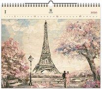 Nástěnný kalendář dřevěný - Eiffel Tower