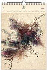 Nástěnný kalendář dřevěný - Feathers