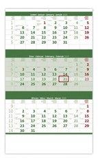 Nástěnný kalendář Tříměsíční zelený