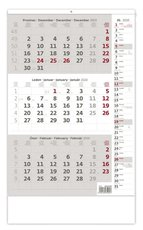 Nástěnný kalendář Tříměsíční s poznámkami šedý