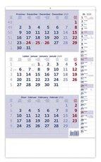 Nástěnný kalendář Tříměsíční s poznámkami modrý